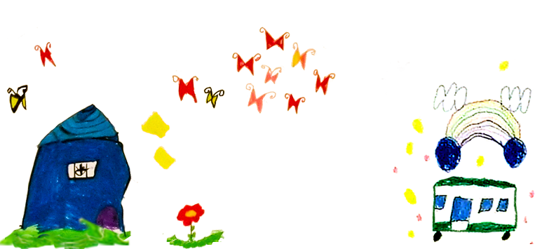園児の絵ー家・幼稚園バス